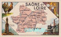 D 71 - Chromo - Carte De Département De La Saône Et Loire Illustrée -  Format 6,5 Cm/10,5 Cm. Pub Au Dos - (voir Scan) - Vieux Papiers