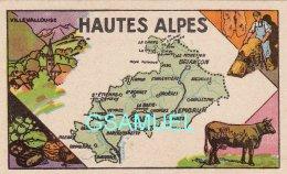 D 05 - Chromo - Carte De Département Des Hautes Alpes Illustrée -  Format 6,5 Cm/10,5 Cm. Pub Au Dos - (voir Scan) - Vieux Papiers