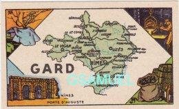 D 30 - Chromo - Carte De Département Du Gard Illustrée -  Format 6,5 Cm/10,5 Cm. Pub Au Dos - (voir Scan) - Vieux Papiers