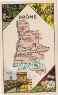 D 26 - Chromo - Carte De Département De La Drôme Illustrée -  Format 6,5 Cm/10,5 Cm. Pub Au Dos - (voir Scan) - Vieux Papiers