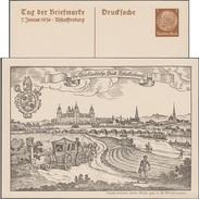 Allemagne 1936. Carte Postale, Entier TSC. Journée Du Timbre 1936. Gravure, Château Des Princes-archevêques, Mitre, Pont