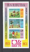 Barbuda 1974,3V In Block,football,fussball,voetbal,fútbol,calcio ,MNH/Postfris(A3153)