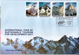 PAKISTAN- 2017 HIMALAYAN PEAKS- K2, Nangaparbat, Broad Peak,Gasherbrum-1- FDC With Brochure