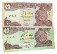 IRAK 1/2 DINAR 1993 P-78a & 78b 2 TYPES OF COLORS [IQ335a-IQ335b] - Iraq