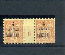 Zanzibar_ Millésimes 10c Sage Surchargé 4 Annas  (1896 ) N°43