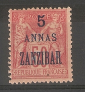 Zanzibar_  50c Sage Surchargé 5 Annas  Zanzibar  (1899 ) N°50