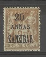 Zanzibar_  2F. Sage Surchargé 20 Annas  Zanzibar  (1899 ) N°51
