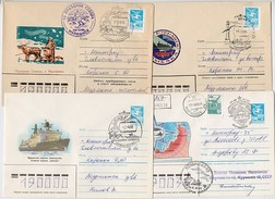 NORTH POLE Polar ARCTIC Mail 4 Cover USSR RUSSIA Murmansk Icebreaker Ski Map Lighthouse Fisherman