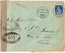 Lettre De Val D'Illiez (28.07.1917) Pour St Brieuc_Controle Postal Militaire N°409