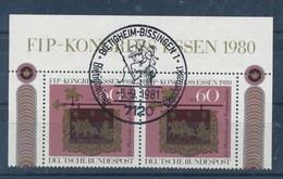 BRD 2x Mi. 1065 OR + Seitenrand SST 1981 Postillion Perdemarkt Bietigheim-Biss. FIP-Kongress