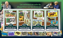 TOGO 2016 - Rhinoceros. Stamps On Stamps Official Issue.