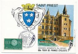FRANCE - Carte Postale - 68eme Tour De France Cycliste - SAINT PRIEST - 16 Juillet 1981