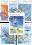 ALDERNEY UK COMPLETE SET PHQ / POST CARDS NAVAL AVIATION 1st DAY CANCELLATION STAMPS * U BOAT AIRPLANES HELICOPTER 2009 - Alderney