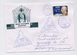 ANTARCTIC Station Molodezhnaya Base Pole Mail Used Cover Polar USSR RUSSIA Airship Amundsen USA