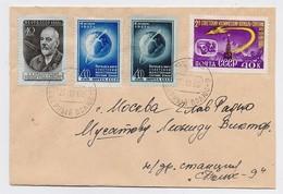 MAIL Post Cover Used USSR RUSSIA Set Stamp Space Rocket Sputnik Tsiolkovsky Scientist Astronomy Dog Belka Strelka