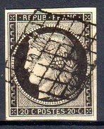 """FRANCE - Type Cérès """"20c Noir/jaune (N° 3 Obl)"""