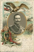 AK Kaiser Wilhelm II, Adler, Reichskriegsflagge, Krone, Wappen, O 1902, Prägelitho (22423) - Familles Royales
