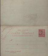 Carte Postale Entier Surcharge Arabe Bleu 10centimos / 10C Mouchon Tenant à La Carte Postale Réponse - Marokko (1891-1956)