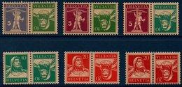 CH 1924/1927 Timbres Tête-bêche De La Série Courante N°YT 197a-198a-198b-200a-202a-203b ** MNH