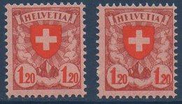 """CH 1924/1927  Helvetia  1.20Fr Et Variété """"HEFVETIA""""   N° YT 209 & 209a  **  MNH"""