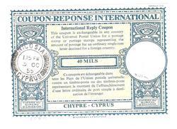 Coupon-réponse Chypre Cyprus - Modèle LO 16n  - 40 Mils - Nicosia 1955 -  CRI IRC IAS