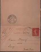 Carte-lettre Entier  10c Semeuse Rouge Inscription Maigre Date 647 Oblit. Paris 118  I4 -2 07