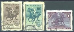 URSS - 1956 - USED/OBLIT. - EQUESTRIAN SPORT HORSE CHEVAUX REIT - Mi 1798-1800 Yv 1775-1777 - Lot 15230
