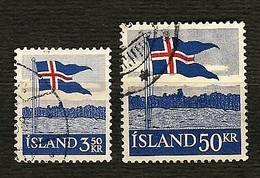 ISLAND 1958 - National Flag - Mi:IS 327-328 - Usati