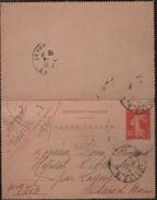 Carte-lettre Entier  10c Semeuse Rouge Inscription + Large Date 520 Oblit. Paris  I0 -4 I5