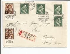 Lettre Recommandée Suisse, Timbres Pro Juventute, La Chaux-de-Fonds - Aarberg (22.1.42) - Pro Juventute