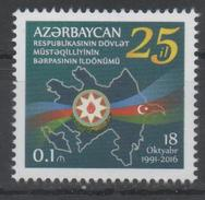 AZERBAIJAIN ,2016, MNH, FLAGS, 25TH ANNIVERSARY OF INDEPENDENCE, 1v - Stamps