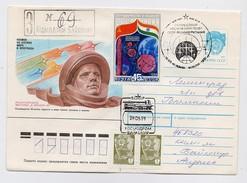 SPACE Used Mail Cover Stationery USSR RUSSIA Baikonur Baikonour SOYUZ TM-12 Sputnik Rocket Gagarin