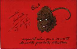 """Carte Postée De Paris 1903 Un Diable En Dorée/fond Rouge """"Que Le Diable Emporte Celui Qui A Inventé Les Cartes Postales"""" - Fantaisies"""