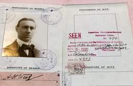UK Passport Passeport Reisepass 1915 Issued In New York Plenty Of Visas - Take A Look! - Documents Historiques