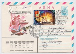 SPACE Used Mail Cover Stationery USSR RUSSIA Baikonur Baikonour SOYUZ T-7 Rocket Sputnik