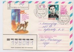 SPACE Used Mail Cover Stationery USSR RUSSIA Baikonur Baikonour SOYUZ T-12 Sputnik Rocket Dog Laika Beregovoi Cosmonaut