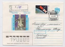 SPACE Used Mail Cover Stationery USSR RUSSIA Sputnik Rocket Soyuz TM 10 Landing Japan Akiyama Baikonur Baikonour Buran C