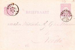 1889 Bk Met Kleinrond Amsterdam En NEEDE Als Aankomst - Poststempels/ Marcofilie