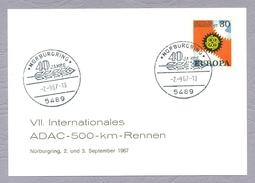 Germany Deutschland 1967 CEPT 40 Jahre Nürburgring ADAC 500 Km Rennen Car Racing Ganzsache Sonderstempel