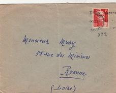 LETTRE .   1949 THONON LES BAINS SAVOIE .   832 SEUL SUR LETTRE  / 95 - 1921-1960: Moderne