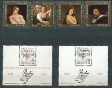 Polen Polska 1977: Gemälde Von Rubens Michel-Nr. 2497-2500+Block 67+Schwarzdruck ** MNH