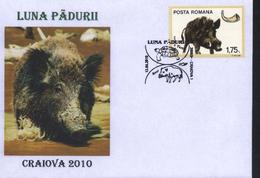 TORTUE / SANGLIER  Protected Fauna Protegee Romania /Mois De La Foret Cachet Special - Roumanie Romania 2010