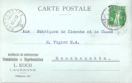 "Motiv Karte  ""Koch, Matériaux De Construction, Lausanne"" - Reuchenette  (Rasierklingenstempel)          1910"