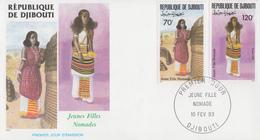 Enveloppe  FDC  1er  Jour   DJIBOUTI    Jeunes  Filles  Nomades   1993