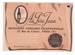 CARTE COMMERCIALE RESTAURANT AU PERE JEAN - CATEGORIE EXCEPTIONNELLE 27 RUE DU COLISEE PARIS 8e- VIEUX VINS FINE CUISINE - Tarjetas De Visita