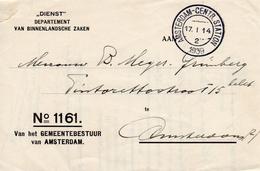 1939  Dienst Drukwerk Amsterdam Met Stempel Hoofdbureau Van Politie 7e Bureau