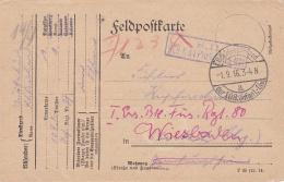 Feldpost WW1: Infanterie Regiment 97 To Soldier Rerouted To I. Ersatz Btl. Füsselier Regiment 80 In Wiesbaden P/m 1.9.19 - Militaria