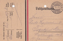 Feldpost WW1: Infanterie Regiment 107  Under 58. Infanterie Division P/m Feld-Poststatiton No. 3 6. Armee 5.4.1915 - Arc - Militaria