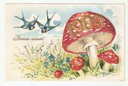 CT-N-01995- BONNE ANNE'- RONDINI - FUNGHI - Anno 1909 - FRANCOBOLLO ASPORTATO - New Year