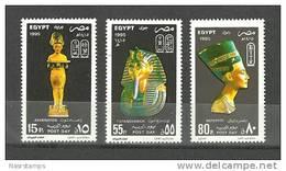 Egypt 1995 ( Post Day - Statue Of Akhenaton, Golden Mask Of King Tutankhamen, Statue Of Nefertiti ) Complete Set - MNH**